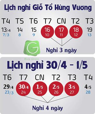 Lịch nghỉ lễ Giỗ tổ Hùng Vương 10/3 2016, 30-4 và 1-5